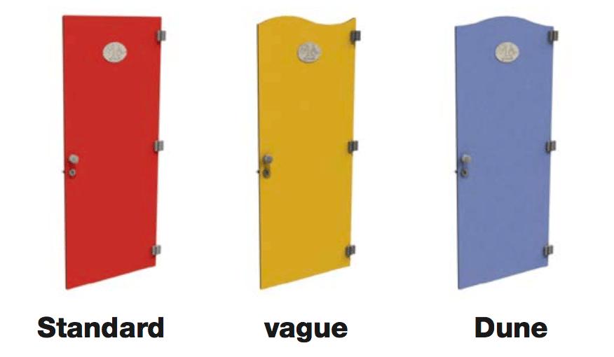 3 formes de portes disponibles pour les cloisons sanitaires gamme classic